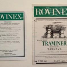 Etichete romanesti vin / eticheta veche romaneasca Rovinex Traminer - '95 Jidvei