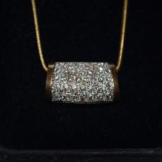 PANDANTIV + LANT AUR 18K + 50 Diamante = 1CT - Franta - Vintage - 11g. !