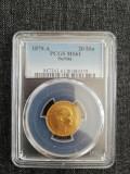 20 DINARI 1879 MS61 rara, Europa