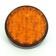 Lampa rotunda cu led SMD 6004-2 Lumina portocalie 12/24V Rezistenta la apa: IP66