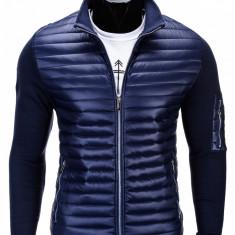 Jacheta pentru barbati, bleumarin, cu fermoar, casual, slim fit - C216