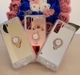 Husa silicon oglinda cu inel Huawei P40 Lite 5G, Argintiu, Auriu, Roz