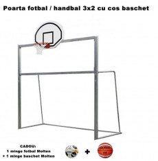 Poarta de fotbal / handbal 3x2 m cu cos baschet, din otel foto