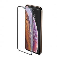 Folie iPhone 11 Pro Max / iPhone XS Max, Sticla Securizata 3D, Full Screen, Protectie Praf Difuzor, Baseus, Negru