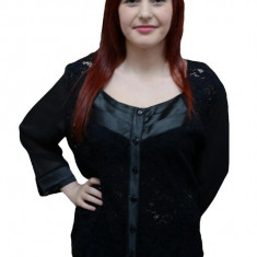 Bluza de dantela rafinata, culoare neagra cu maneci din voal