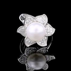 Inel din Argint 925 cu Perla Naturala si Diamante, Sunflower White