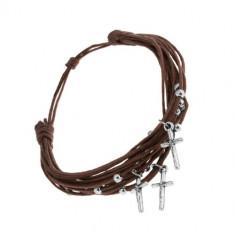 Brățară cu șnururi maro ciocolatii, mărgele din oțel și cruci