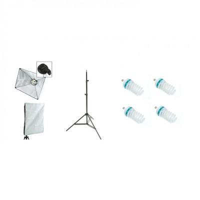 Kit lumina continua foto-video cu: Lampa 4 becuri e27, softbox 40x60cm, stativ 75x210cm si 4 becuri 125W/5500K foto