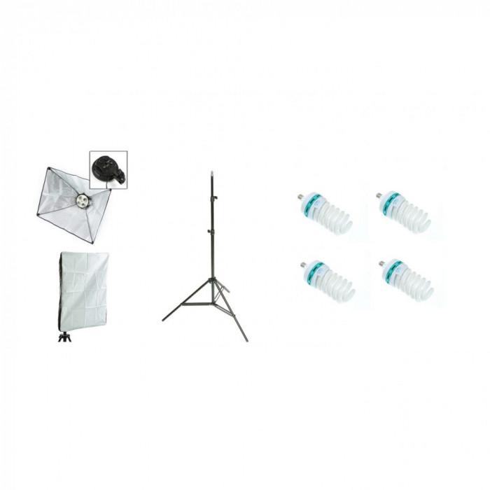 Kit lumina continua foto-video cu: Lampa 4 becuri e27, softbox 40x60cm, stativ 75x210cm si 4 becuri 125W/5500K
