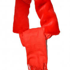 Esarfa moderna toamna-iarna cu blana,nuanta de rosu