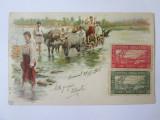 Carte postala litografie 1899 car cu boi,circulata 1906 cu vignete/viniete rare