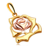 Pandantiv din aur combinat 14K - trandafir înflorit lucios