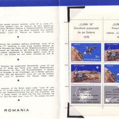 1971 Romania, Luna 16 si 17 bloc LP 756 a, pliant filatelic de prezentare
