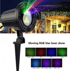 Proiector Laser RGB de exterior cu telecomanda, temporizator, 3 culori, joc de lumini foto