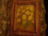 Tablou ulei pe carton - Vas cu flori semnat Ispir ( Eugen) 1962,dim.fara rama 35