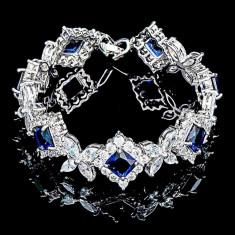 Bratara placata cu Aur 18K si Diamante, Alessandra Platinum & Blue