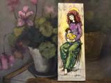 Arta / Design - Placa ceramica pictata manual Madona cu pruncul / semnata !