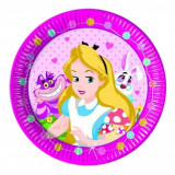 Farfurii Alice in tara minunilor din carton 23 cm set 8 buc