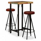 Set mobilier bar, 3 piese lemn masiv reciclat și piele naturală, vidaXL