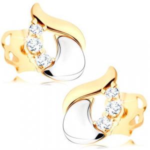 Cercei cu diamante - lacrimă din aur alb și galben de 14K, trei diamante transparente
