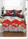 Cumpara ieftin Lenjerie de pat matrimonial cu husa de perna dreptunghiulara, Fire, bumbac mercerizat, multicolor, 220x230 cm, Set complet, FIVE STORE