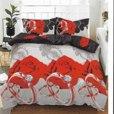 Lenjerie de pat pentru o persoana cu husa de perna dreptunghiulara, Fire, bumbac mercerizat, multicolor