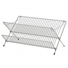 Suport galvanizat pentru vesela, 48 x 29 x 23 cm, 2 nivele, Argintiu