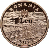 1 LEU 2017, 160 ani,  iluminatul public cu petrol lampant in București. 250 ex.