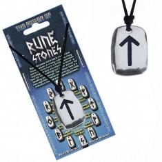 """Colier din șnur și pandantiv din metal - rună neagră cu simbolul """"puterii"""""""