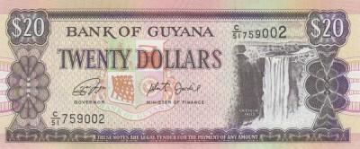 GUYANA █ bancnota █ 20 Dollars █ 2019 █ P30g █ semnatura 16 █ UNC █ necirculata foto
