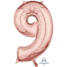 Balon Balon folie cifra 9 Rose Gold - 43 x 66 cm, Amscan 36604