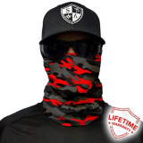 Bandana/Face Shield/Cagula/Esarfa - Fire Red Military Blackout Camo, SA Co., Din imagine