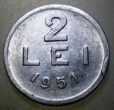 7.650 ROMANIA RPR 2 LEI 1951, Aluminiu