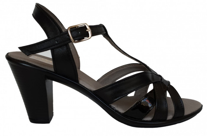 Sandale dama cu barete si cu toc comod Ninna Art 113 negru