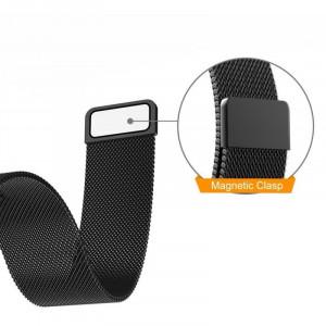 Curea ceas Smartwatch Samsung Gear S3 Black Milanese Loop, iUni 22 mm Otel Inoxidabil