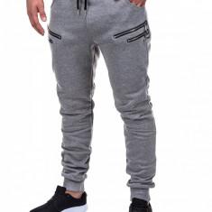 Pantaloni pentru barbati de trening gri fermoare decorative banda jos cu siret bumbac p422