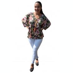 Bluza casual Georgiana, imprimeu painted cu motive florale, nuanta de negru