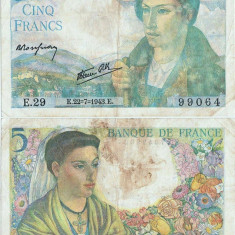 1943 ( 22 VII ) , 5 francs ( P-98a.2 ) - Franţa