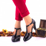 Pantofi dama eleganti,din piele naturala negri toc 7cm - NA173NPL