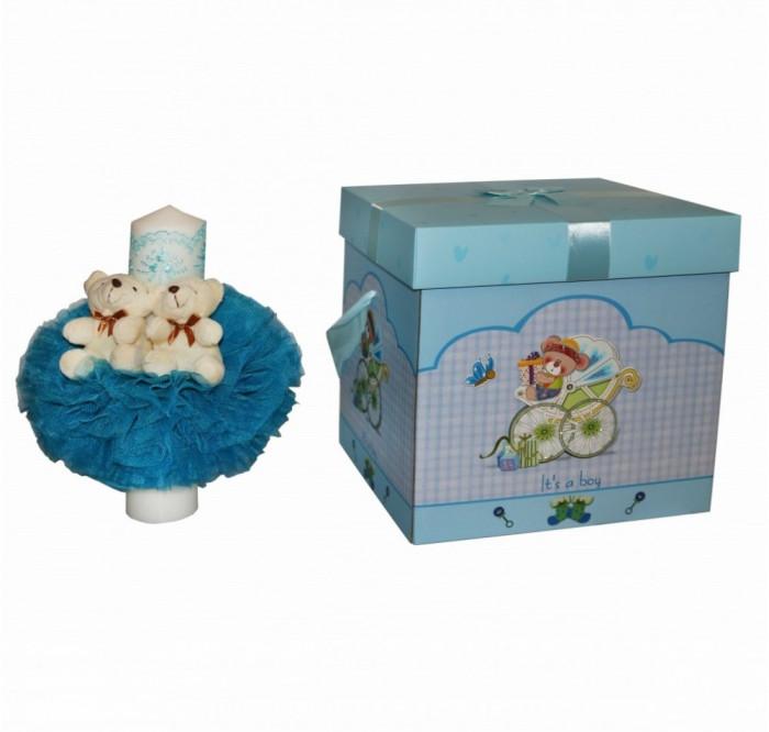Set lumanare si cutie pentru transport trusou - bleu
