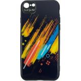 Cumpara ieftin Husa Capac Spate Color Glass Pattern 5 Multicolor Apple iPhone 7, iPhone 8, Star