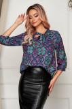 Bluza dama office cu croi larg din material subtire cu guler tip esarfa