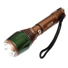 Lanterna metalica 3W CREE LED, acumulator LiIon 18650 (6800 mAh), incarcator de...