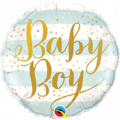 Balon botez Baby Boy Blue Stripes din folie metalizata 43cm