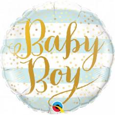 Balon botez Baby Boy Blue Stripes din folie metalizata 43cm