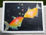 "Tablou pictat manual pictura acrilica ""Fish Love"""