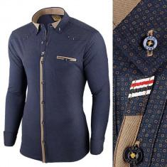 Camasa pentru barbati bleumarin flex fit elastica casual cu guler genesis