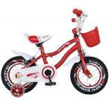 Cumpara ieftin Bicicleta Copii Rich Baby R1204A, Roti 12inch, frana C-Brake, Roti Ajutatoare cu led (Rosu)