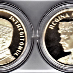 Monede 50 bani 2019 PROOF lot 2 bucati regele Ferdinand+regina Maria in capsule