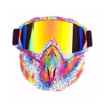 Masca protectie fata, plastic dur + ochelari ski, lentila multicolora, MCMFD01
